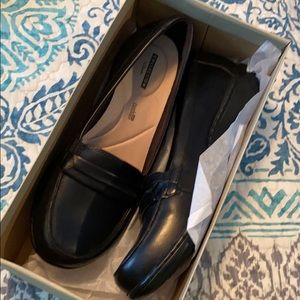 Clarks Black leather loafers 9.5wide